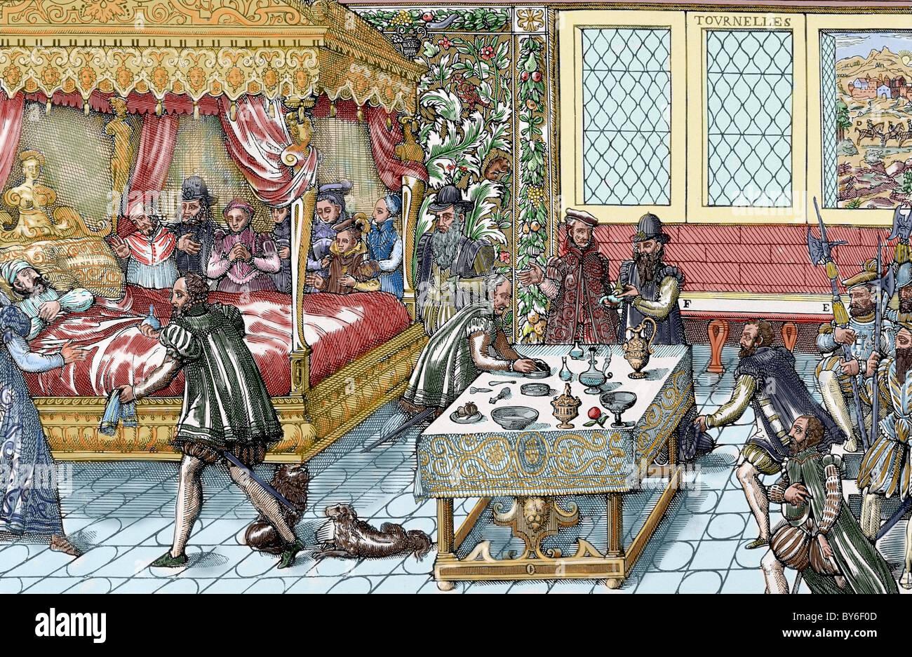 Enrique II (1519-1559). Rey de Francia (1547-1559). La muerte del rey. Grabado en color. Foto de stock