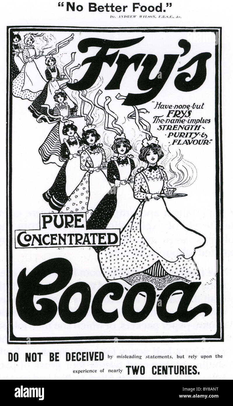FRY'S COCOA anuncio 1901 Foto de stock