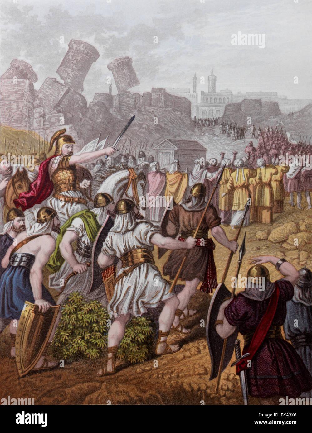 Historias Bíblicas ilustración de los Israelitas que abarque los muros de Jericó Foto de stock