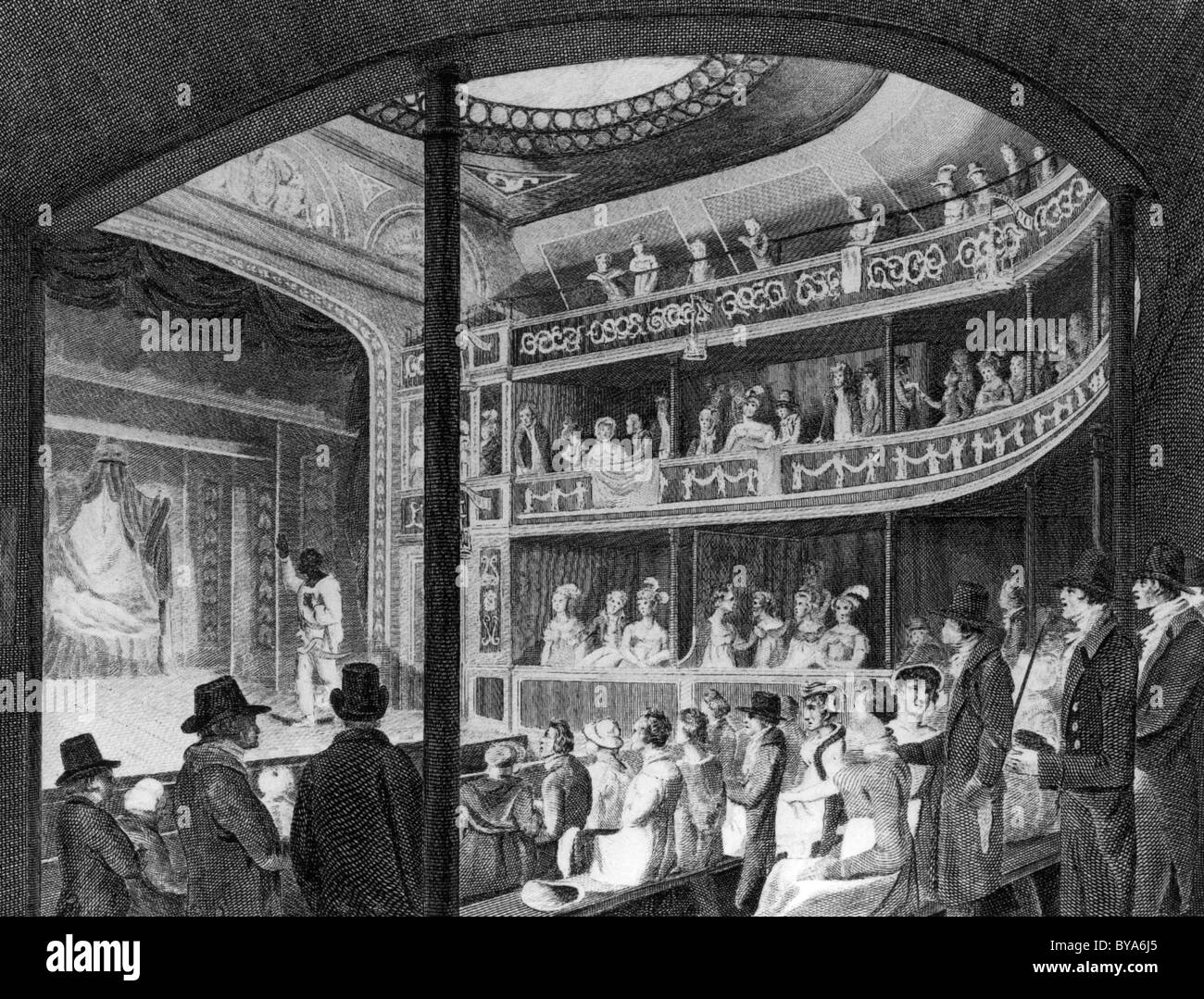 REGENCY Theatre, Tottenham Street, Londres en 1819 durante una producción de Othello Imagen De Stock