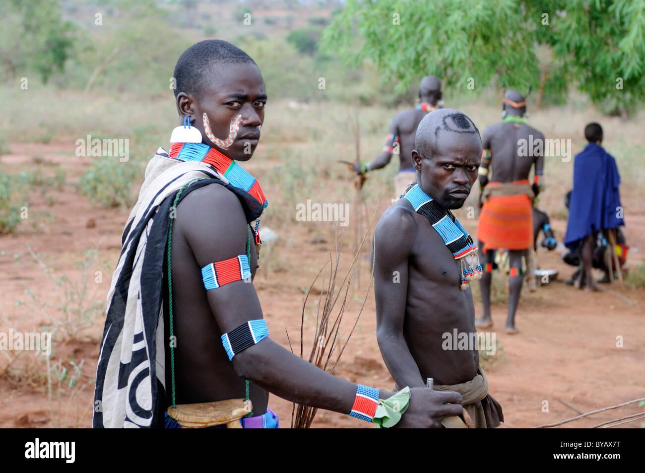 """Fieros Guerreros de la tribu en Hamar el ritual de iniciación """"salto a lo largo de los bovinos"""", Imagen De Stock"""