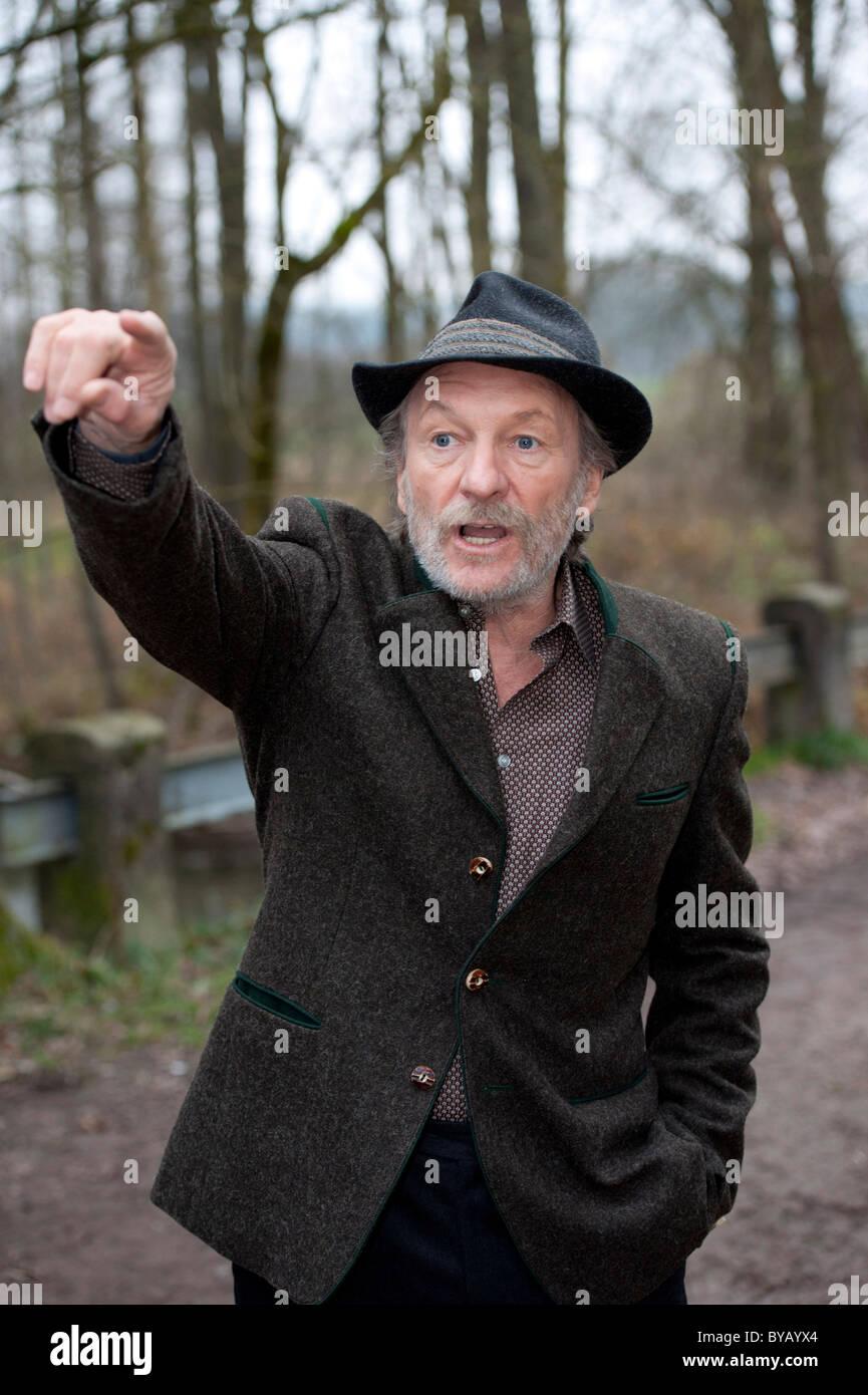 """El actor alemán Franz Xaver Kroetz en el conjunto del thriller con el título """"oor der Angst' Imagen De Stock"""