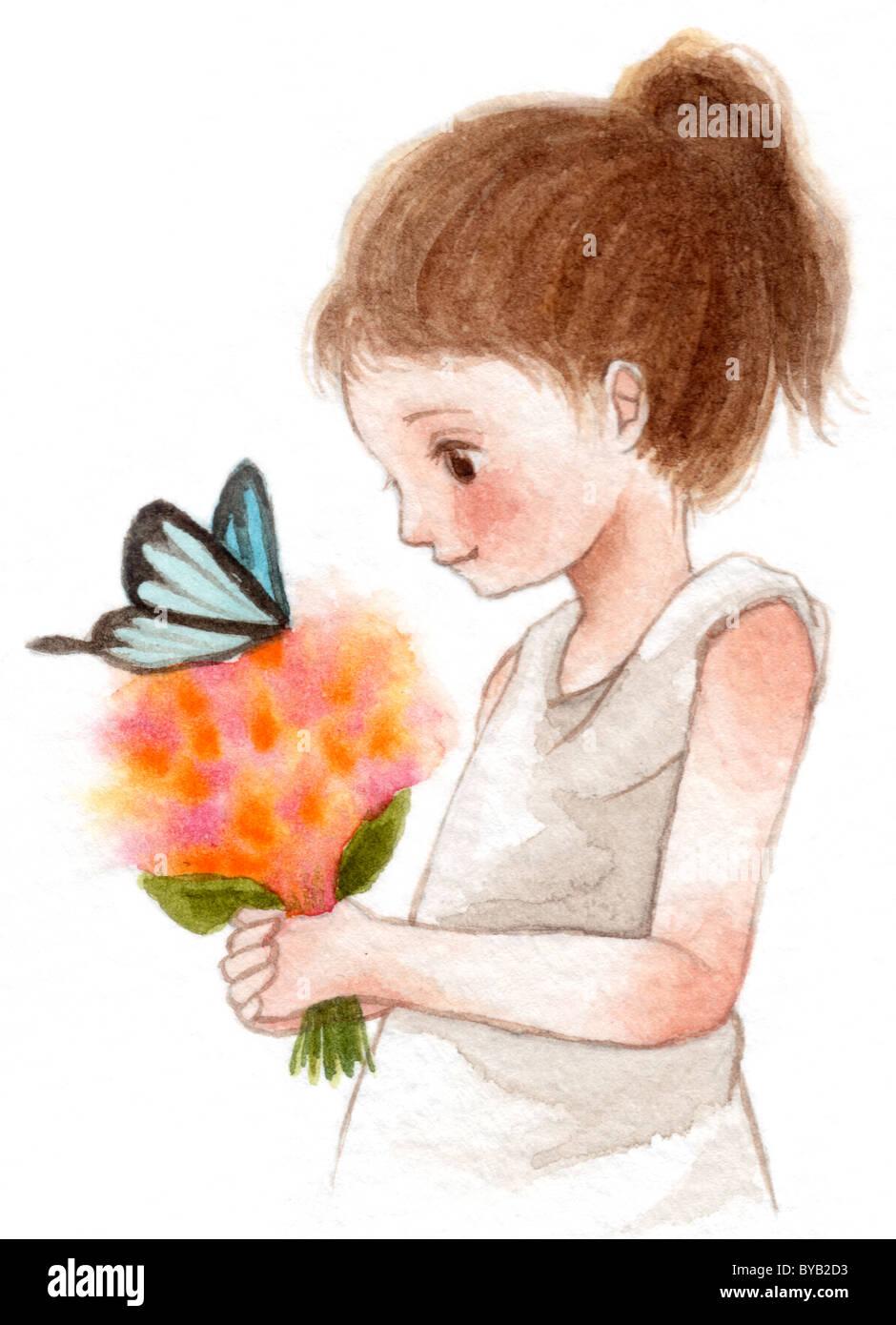 Una joven con una mariposa en un ramo de flores Foto de stock