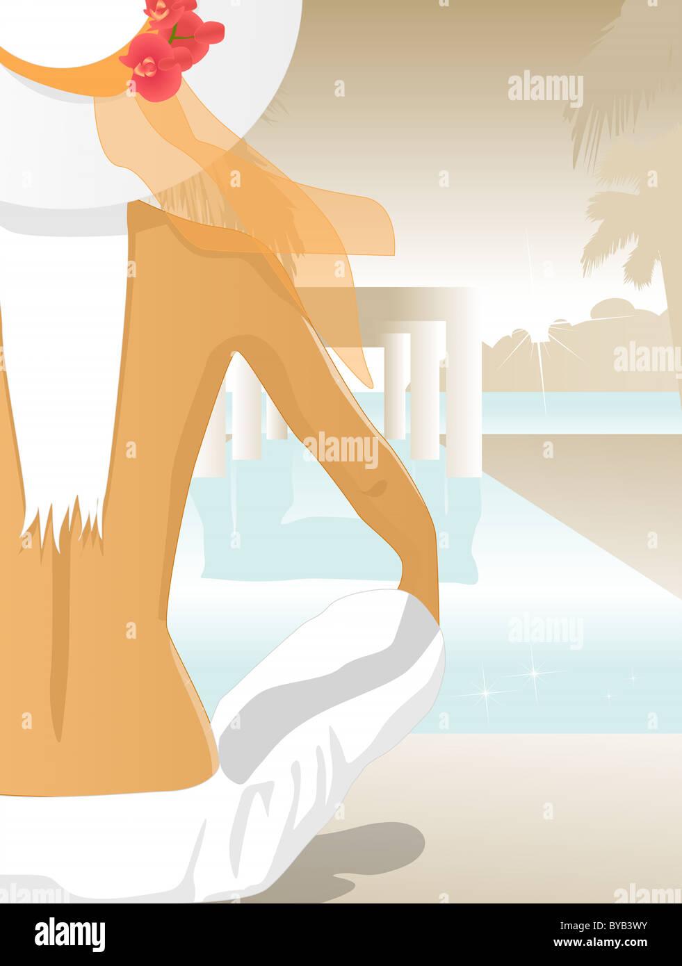 Una mujer sentada por una piscina Imagen De Stock