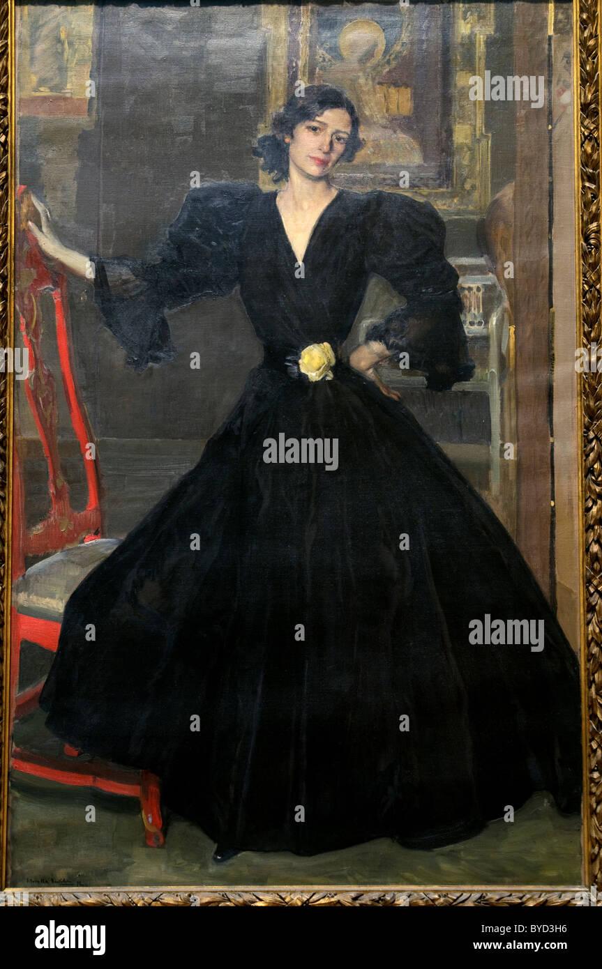 Señora de Sorolla (Clotilde García del Castillo, 1865-1929) en 1906, negro, de Joaquín Sorolla y Imagen De Stock