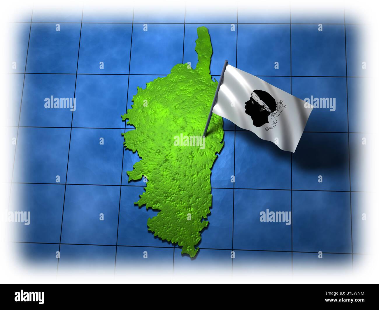 Córcega con su propia bandera en un borde blanco Imagen De Stock