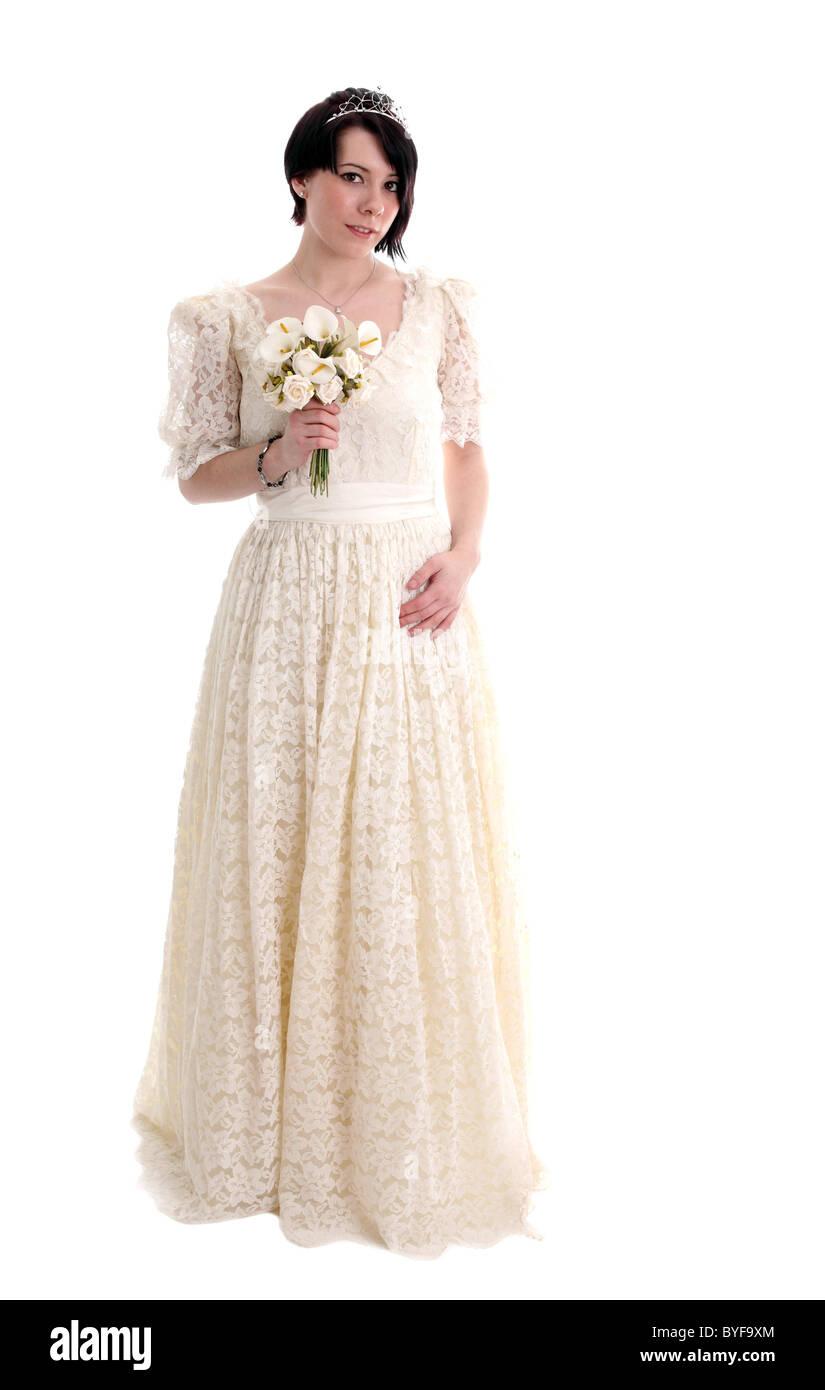d7474140d9 Joven Mujer galesa en un vestido de novia de encaje vintage Imagen De Stock