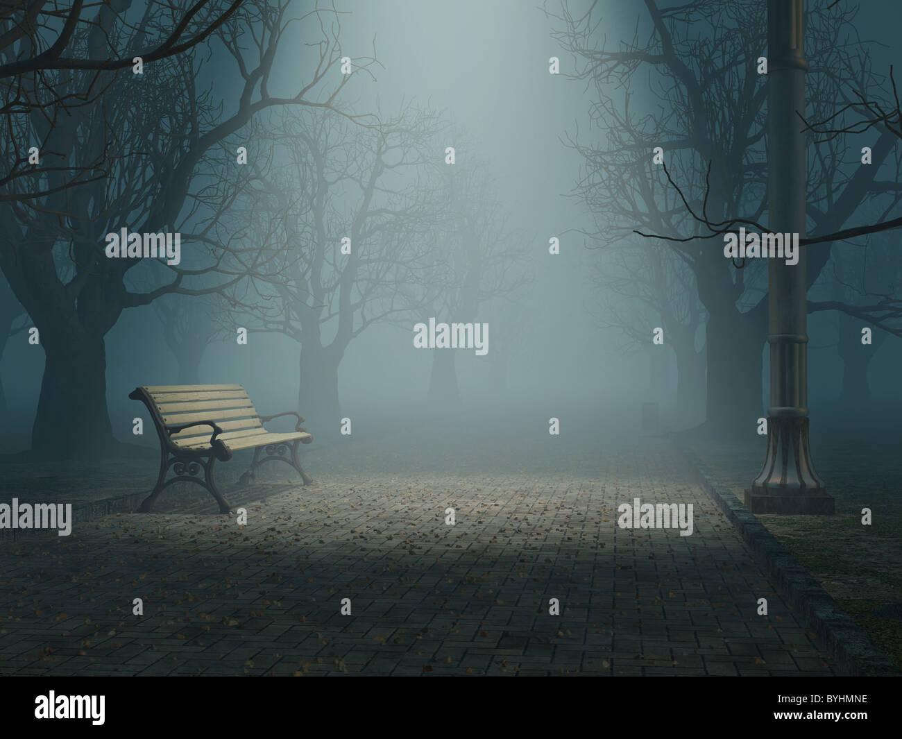 Banco solitario en misty park Imagen De Stock