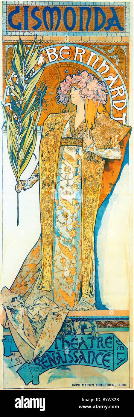 Alphonse Mucha (Alfons Maria) 1860 - 1939, Playbill poster Sarah Bernhardt en Gismonda Théâtre de la Renaissance 1894 Foto de stock