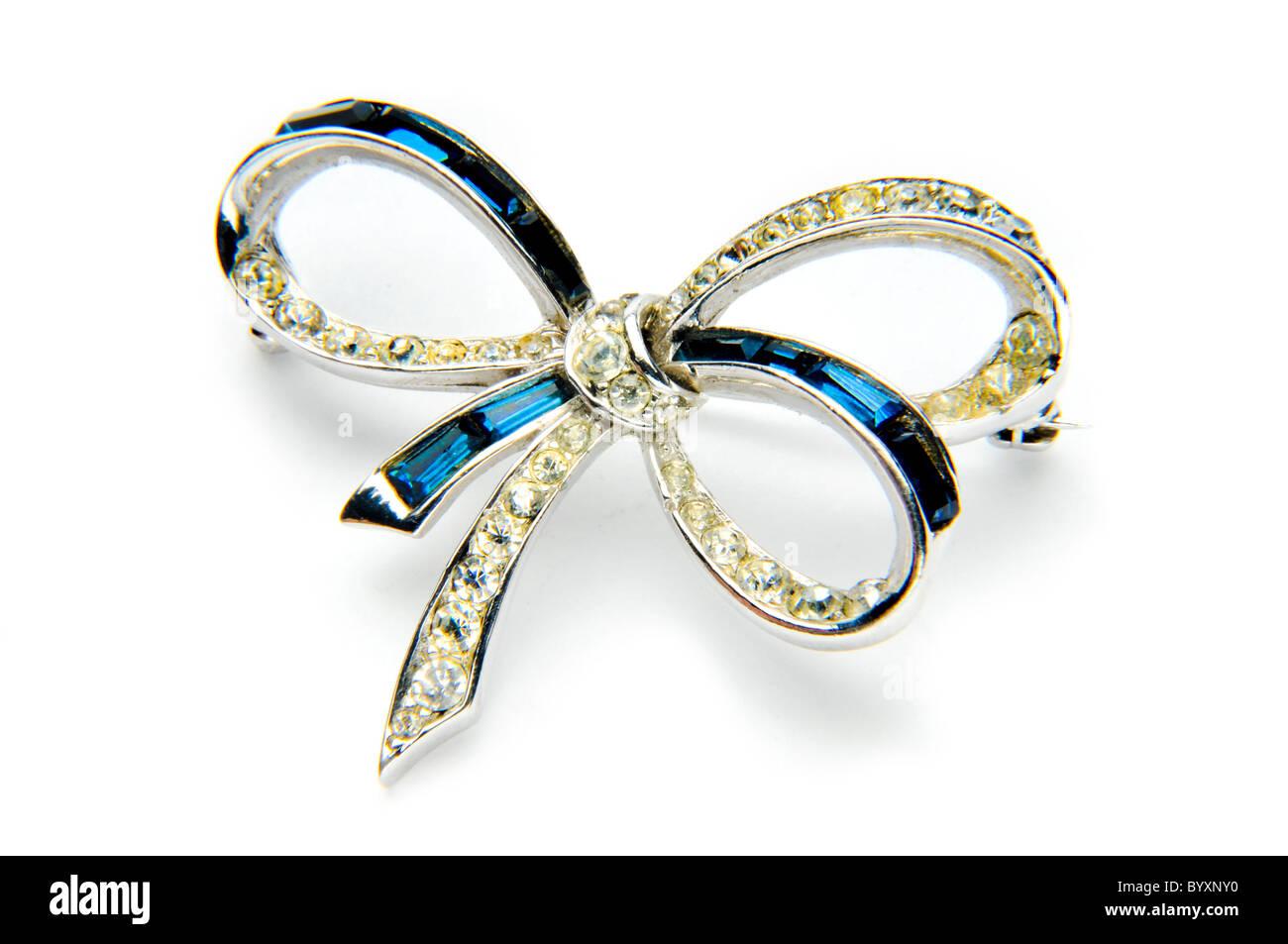 Azul y plata diamante bow joyas Imagen De Stock