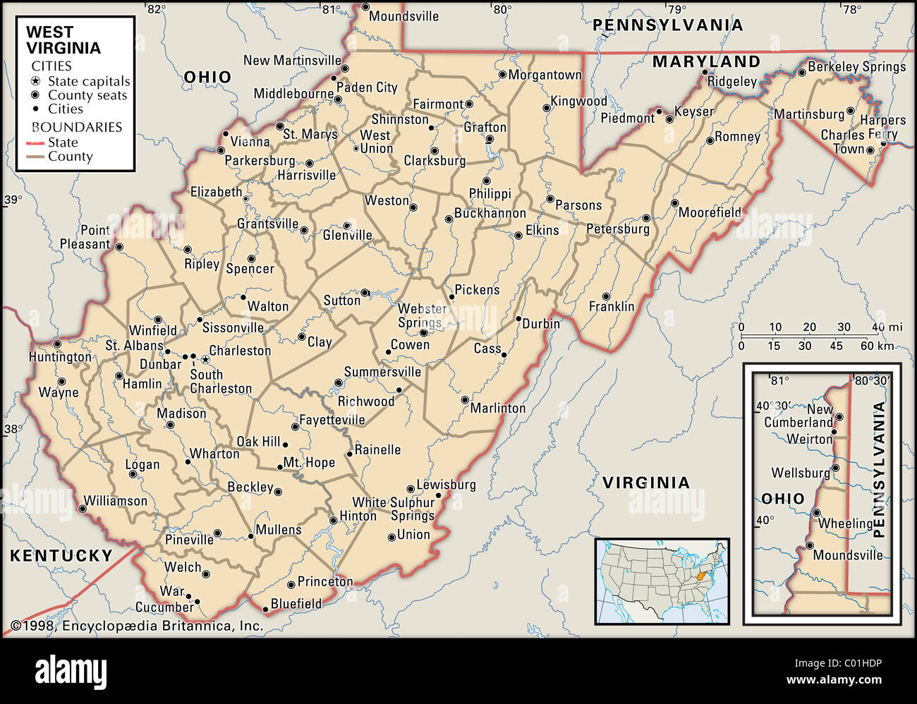 Mapa político de West Virginia Imagen De Stock