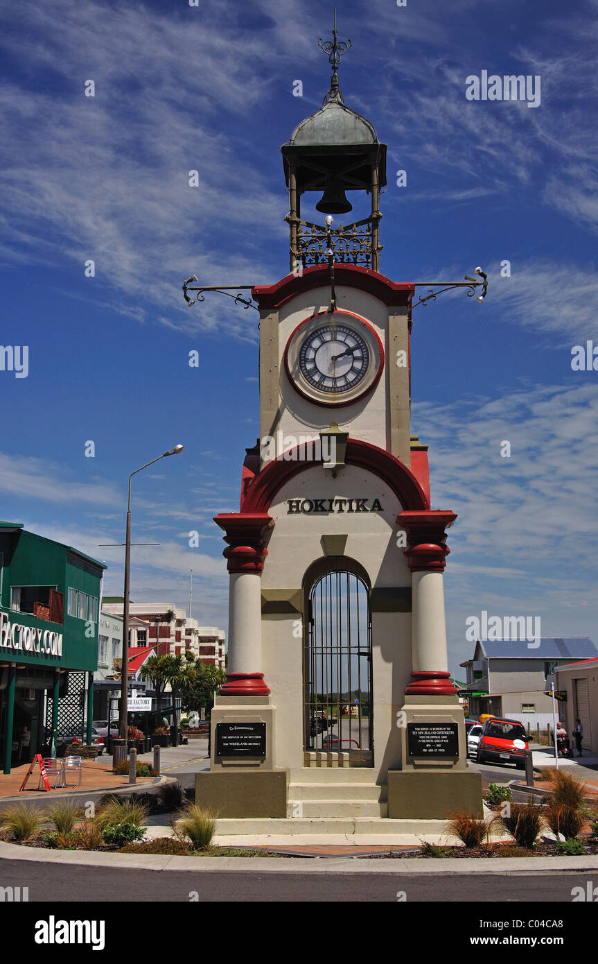 Hokitika Memorial Clocktower, suelde Street, Hokitika, Westland distrito, región de la Costa Oeste, Isla del Sur, Nueva Zelanda Foto de stock