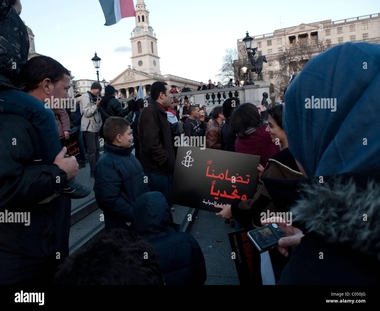 Los manifestantes palestinos y Egipto Egipto apoyo internacional La Primavera Árabe la revolución demo Imagen De Stock