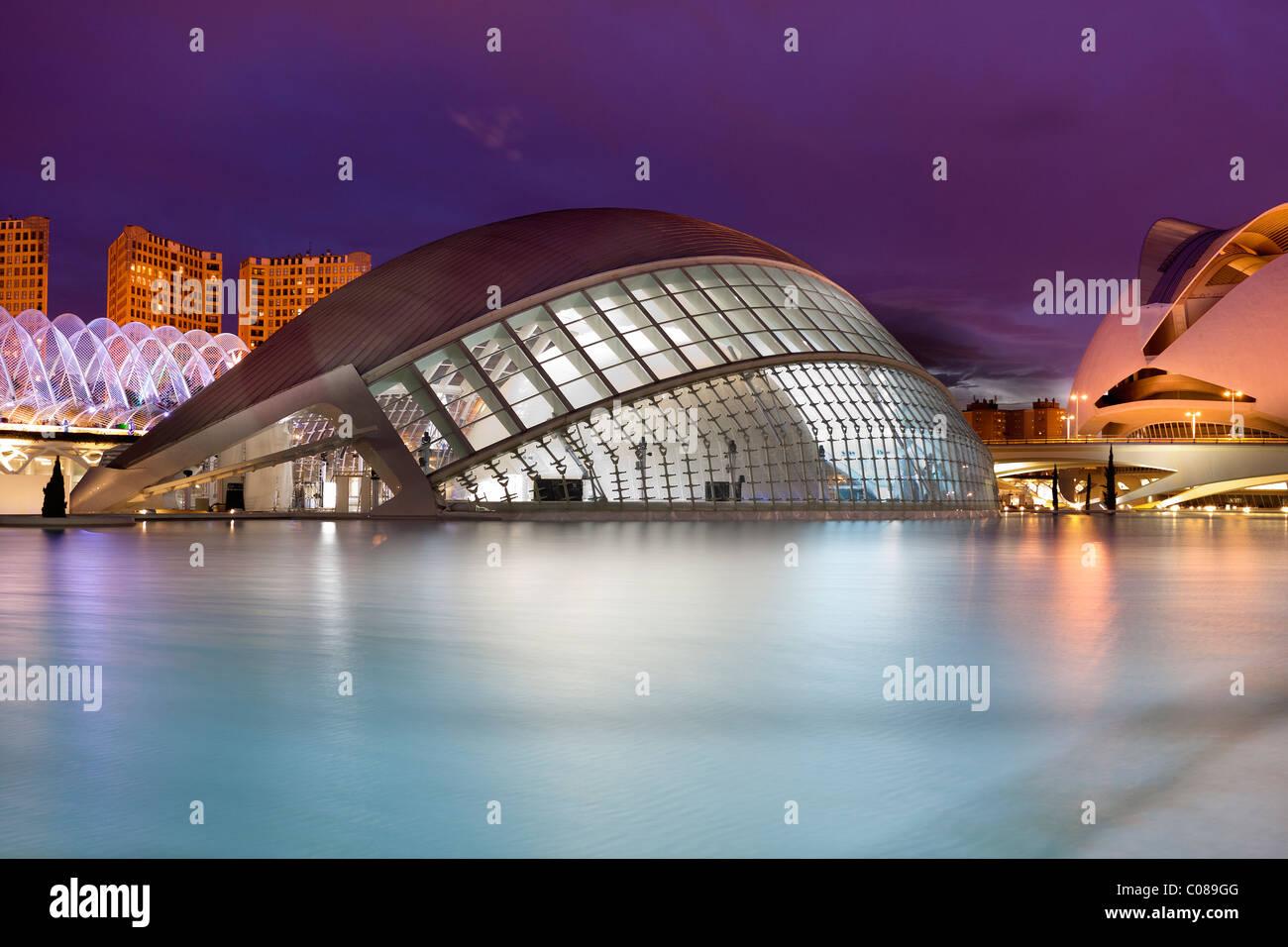 VALENCIA, ESPAÑA - JAN 7: La ciudad de Las Artes y las Ciencias (CAC) recibe diariamente un promedio de 9,373 Imagen De Stock