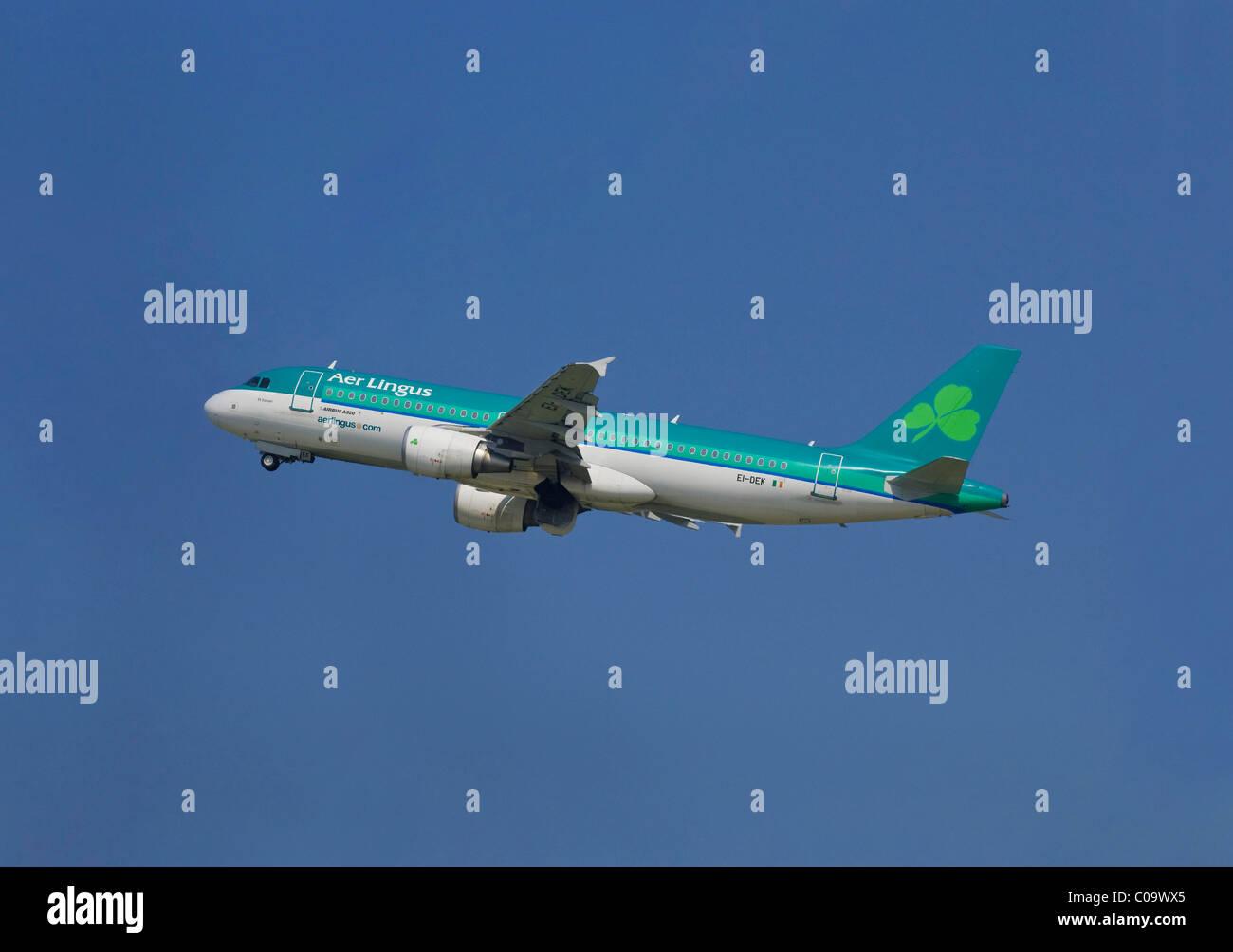 Avión de pasajeros de la compañía aérea irlandesa Aer Lingus, Airbus A320-214, subir contra el cielo azul Foto de stock