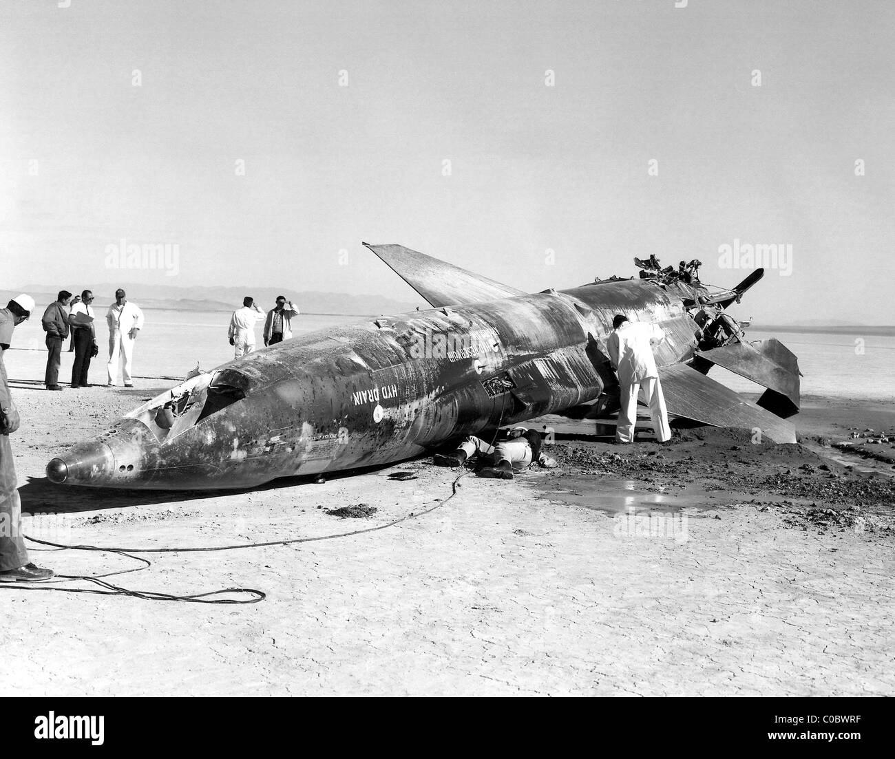 X-15 crash en barro Lake, Nevada, EE.UU. el 9 de noviembre de 1962. Imagen De Stock