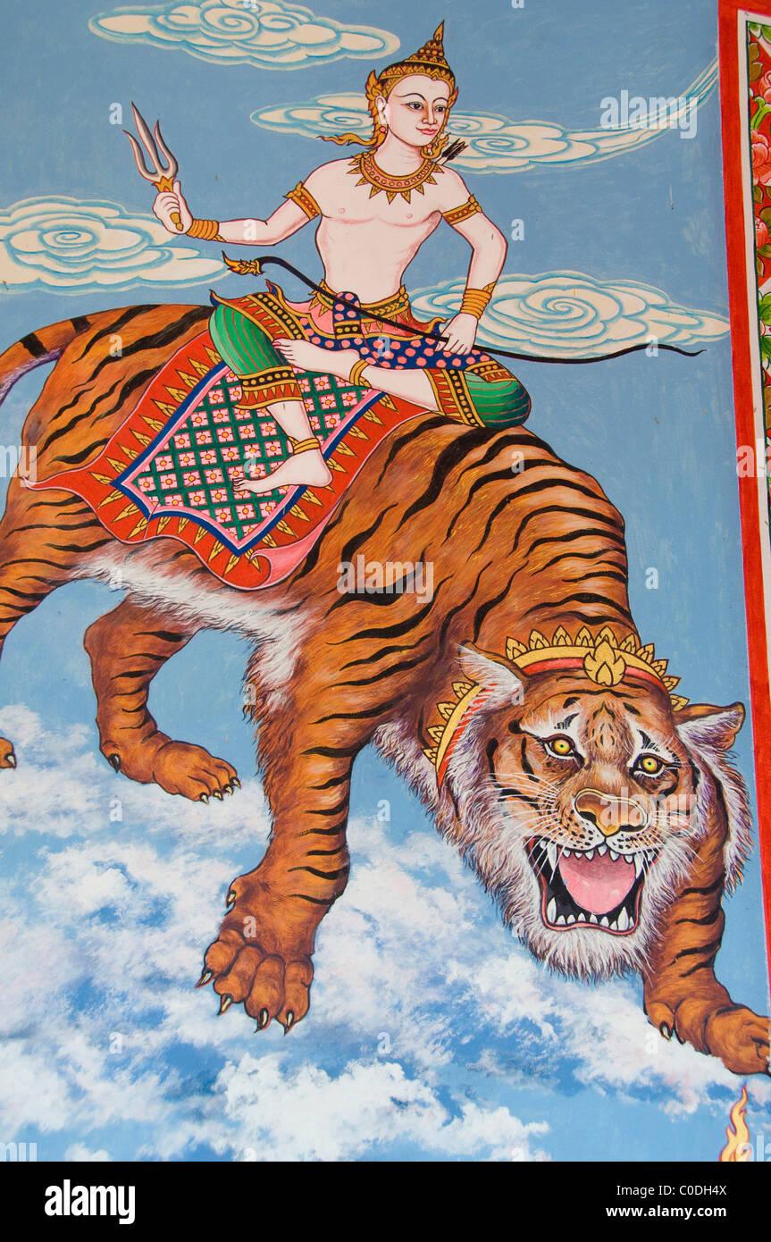 Tailandia Ko Samui Koh Samui (aka). Wat Plai Laem aka Plai Laem templo, dentro de casa de oración. Imagen De Stock