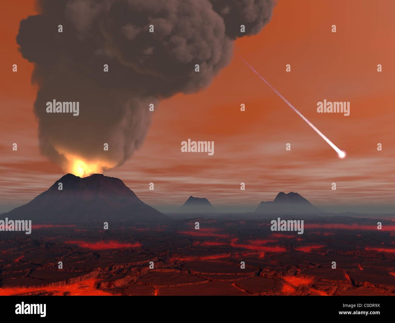Concepto del artista mostrando cómo la superficie de la Tierra apareció durante el Hadean eon. Imagen De Stock
