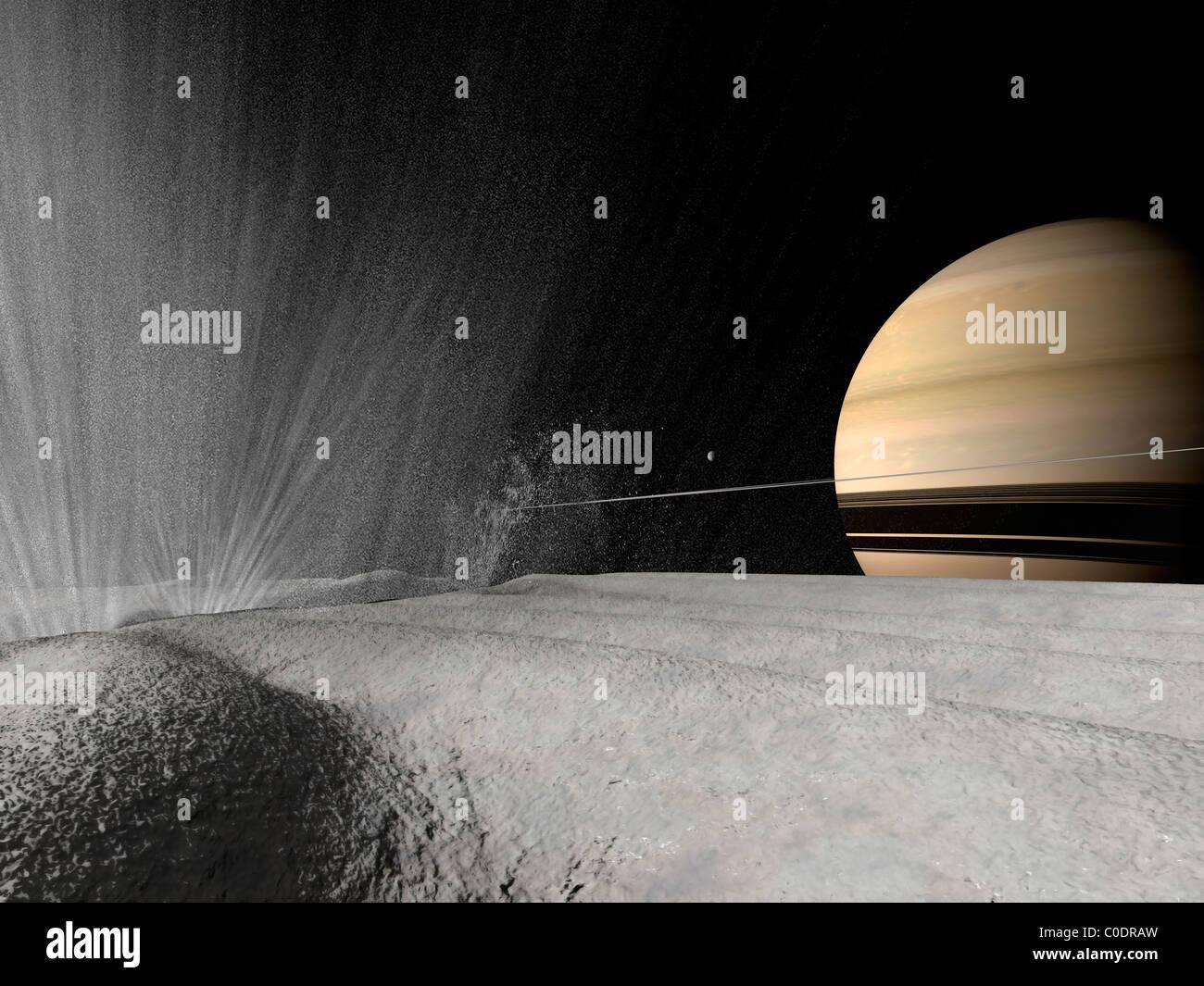 Ilustración de un géiser en erupción en la superficie de Encélado. Imagen De Stock
