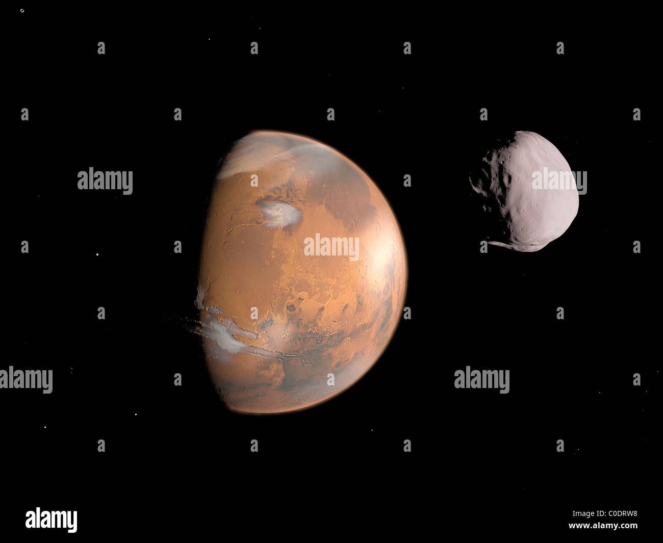 Concepción artística de Marte y la luna, Dione. Imagen De Stock