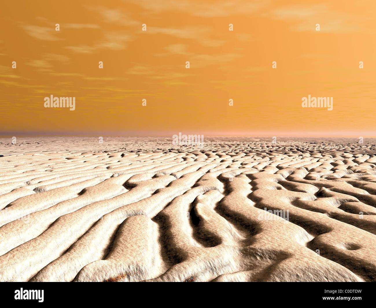 Un muelle amanecer sobre la superficie del polo sur de Marte. Imagen De Stock