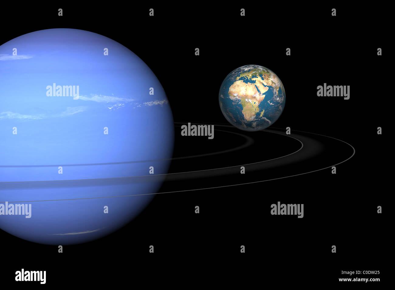 Artista' concepto de Neptuno y la tierra. Imagen De Stock