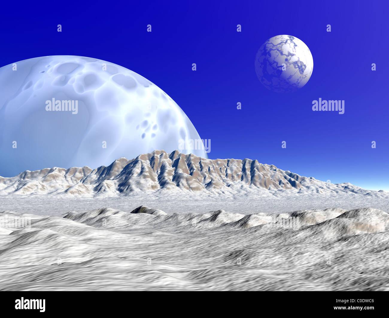 Concepto artístico de un sistema planetario extraterrestre. Foto de stock