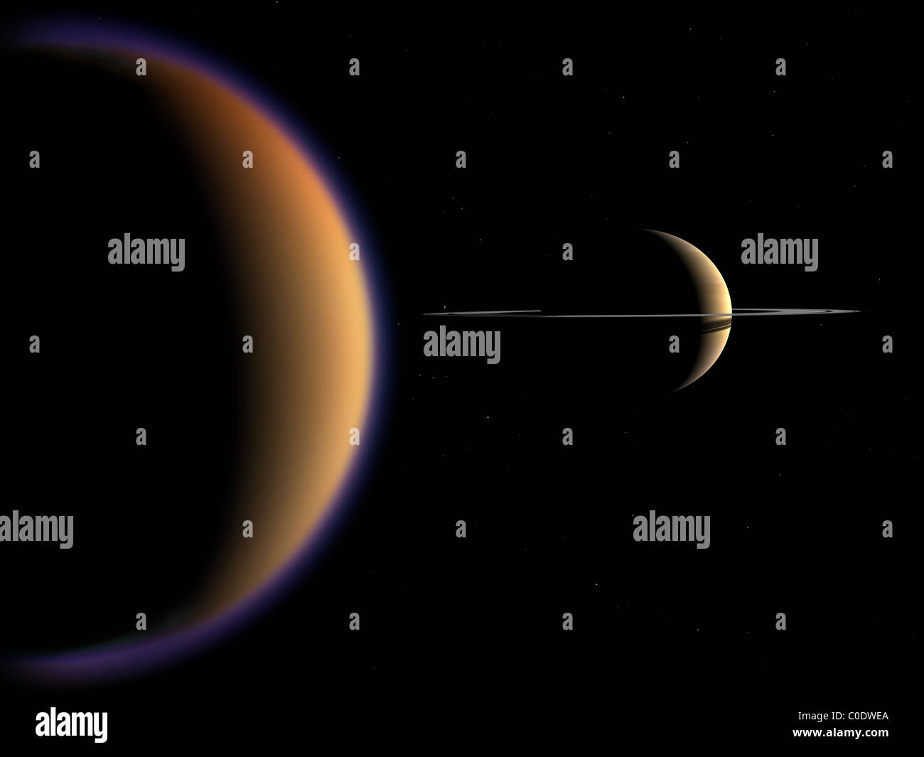 Concepto artístico de Saturno y su luna Titán. Imagen De Stock