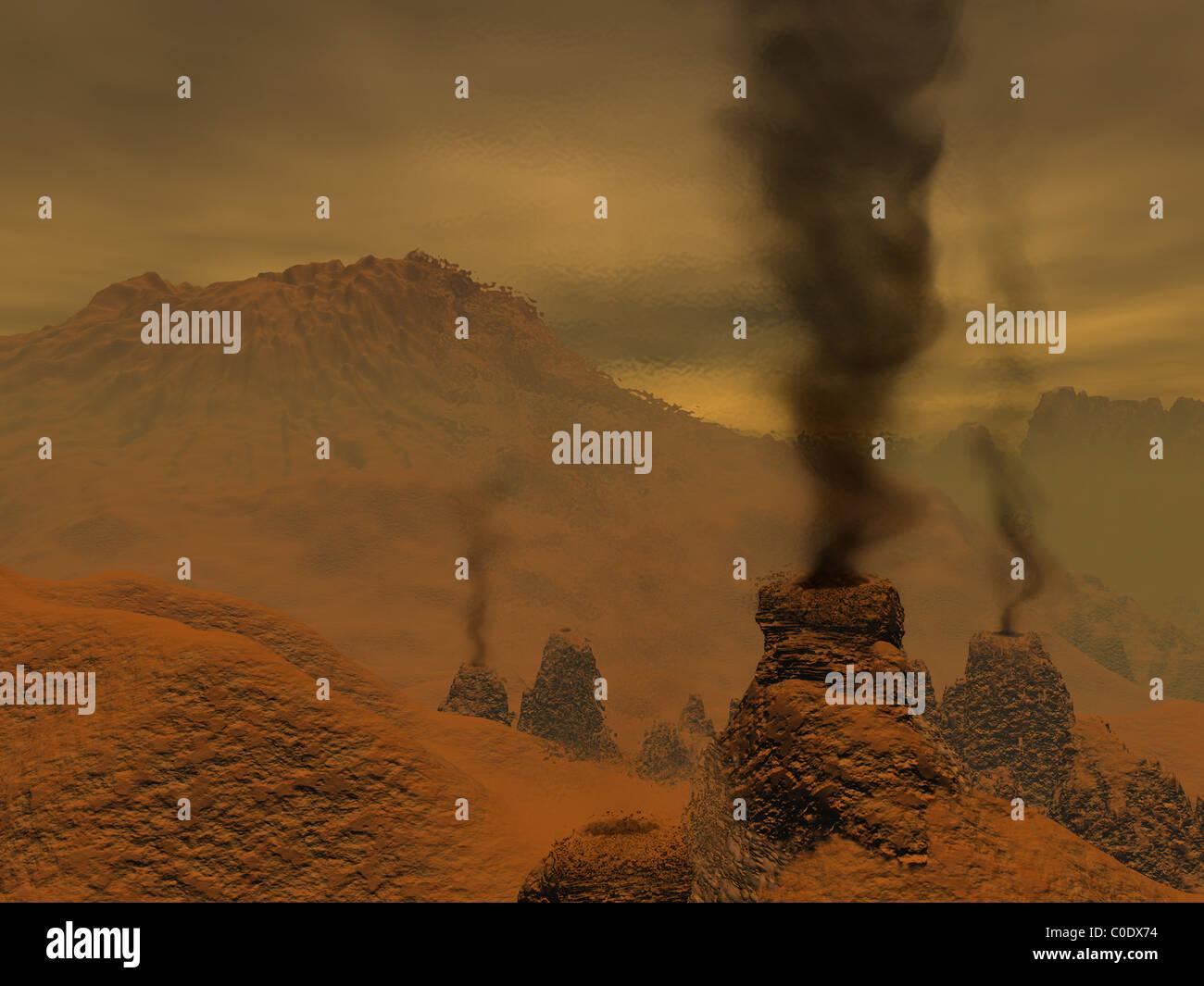 Concepción artística de la actividad volcánica en la superficie de Venus. Imagen De Stock