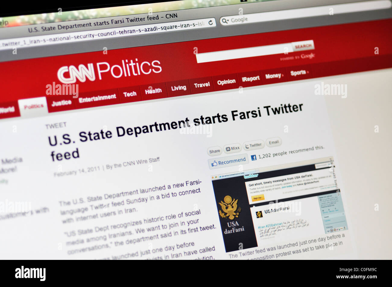 Política de CNN website Imagen De Stock