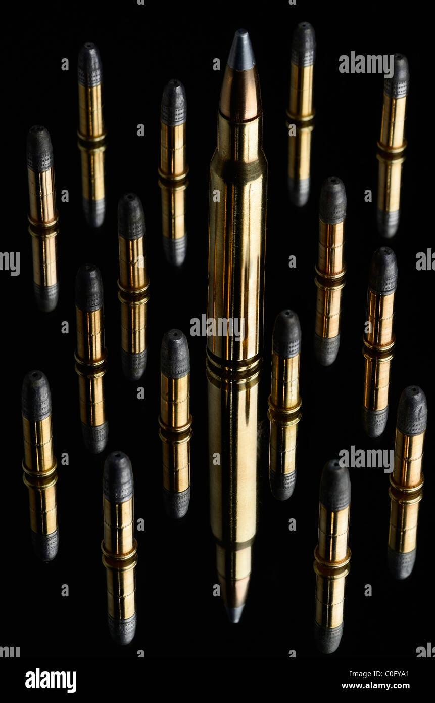 Full metal jacket winchester 30 06 Springfield y 22 cartuchos calibre Rifle de balas de plomo negro espejo Imagen De Stock