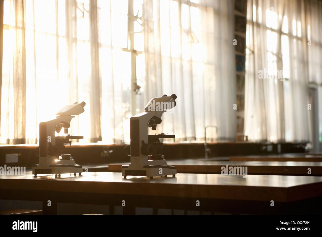 Dos micrpscopes en un banco Imagen De Stock