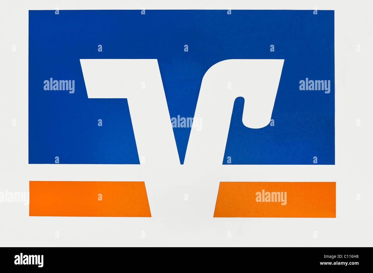 Logotipo de la Volksbanken Raiffeisenbanken, bancos cooperativos locales Imagen De Stock
