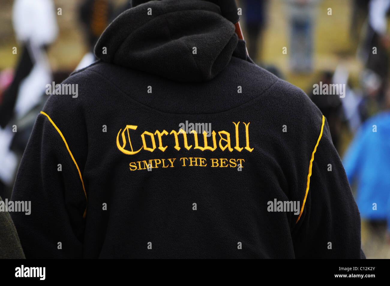 Un partidario de rugby de Cornwall. Imagen De Stock