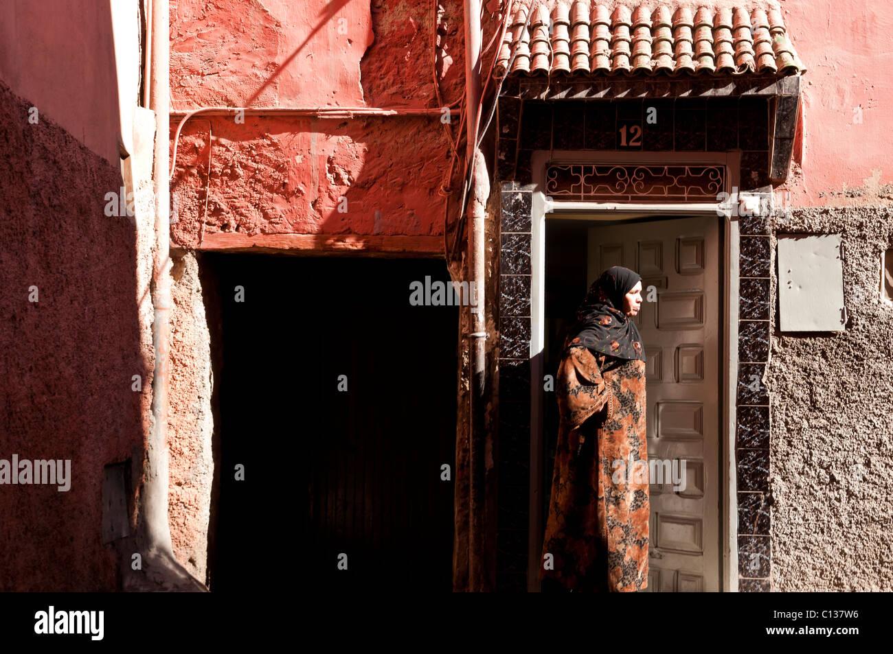 Cada día de la vida en el interior de la Medina de Marrakech, Marruecos, Norte de África Imagen De Stock