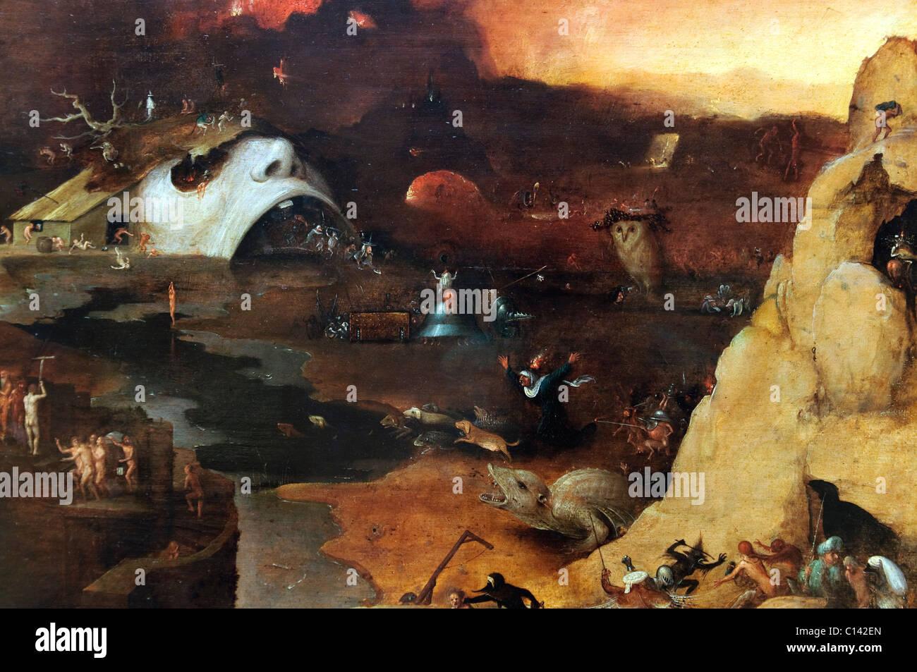 Detalle: el descenso a los infiernos de Cristo, al estilo de Hieronymus Bosch, Imagen De Stock