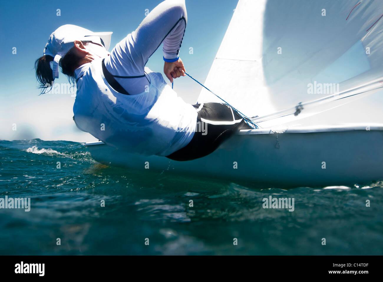 Un atleta femenina entrenamiento láser en la Cruz, México Imagen De Stock