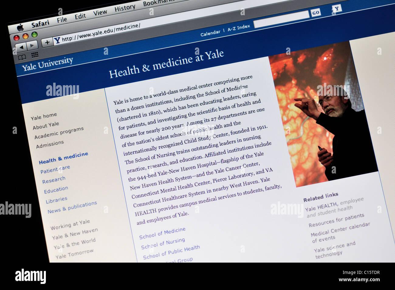 Sitio web de la Escuela Médica de Yale, la Universidad de Yale Foto de stock