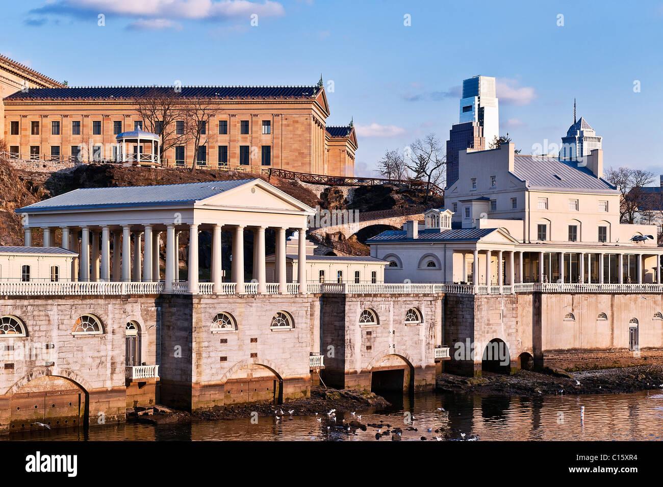 El fairmount obras de agua potable y el museo de arte de Filadelfia, PA, Pennsylvania, EE.UU. Imagen De Stock