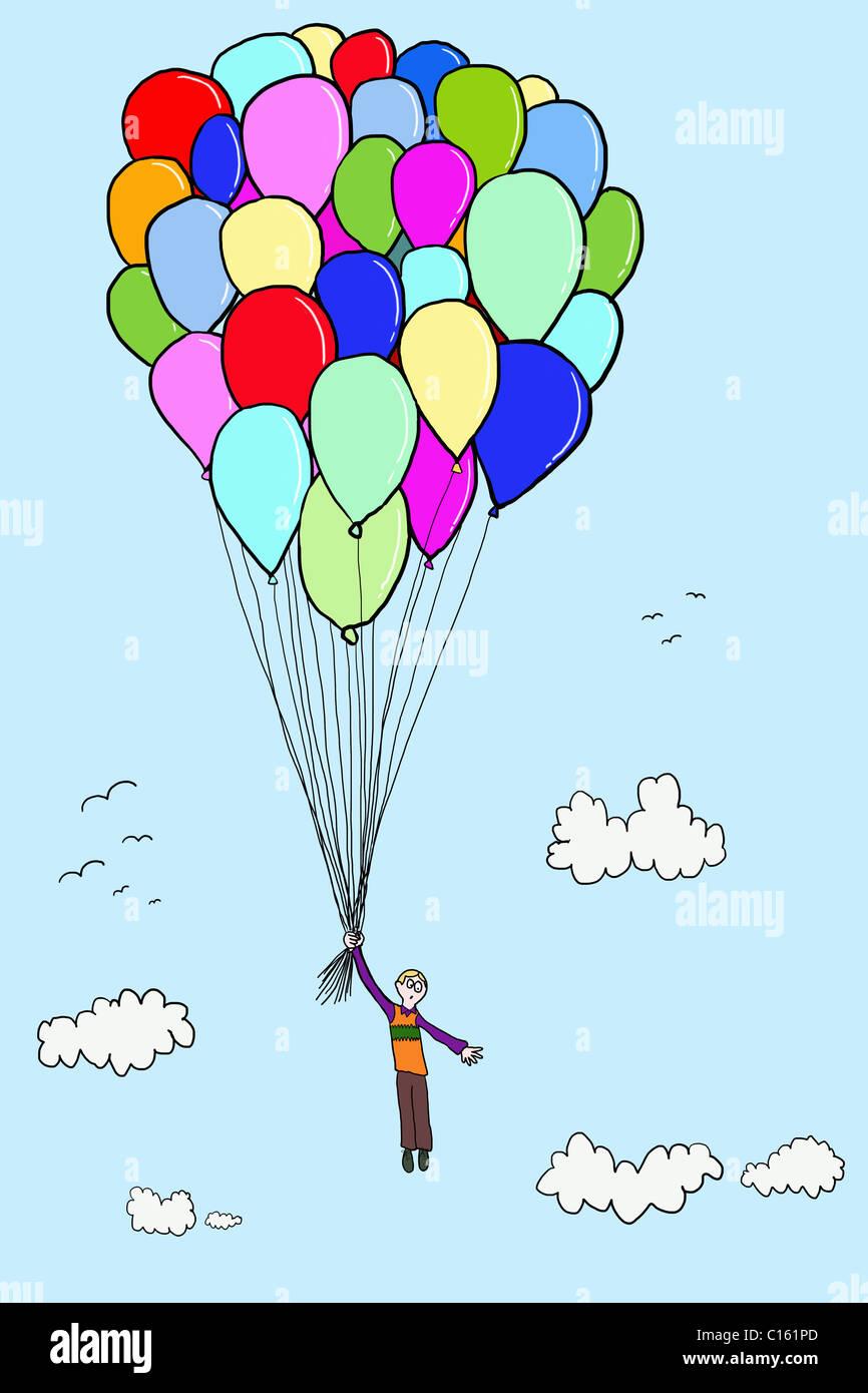 Chico flotando con globos, ilustración Imagen De Stock