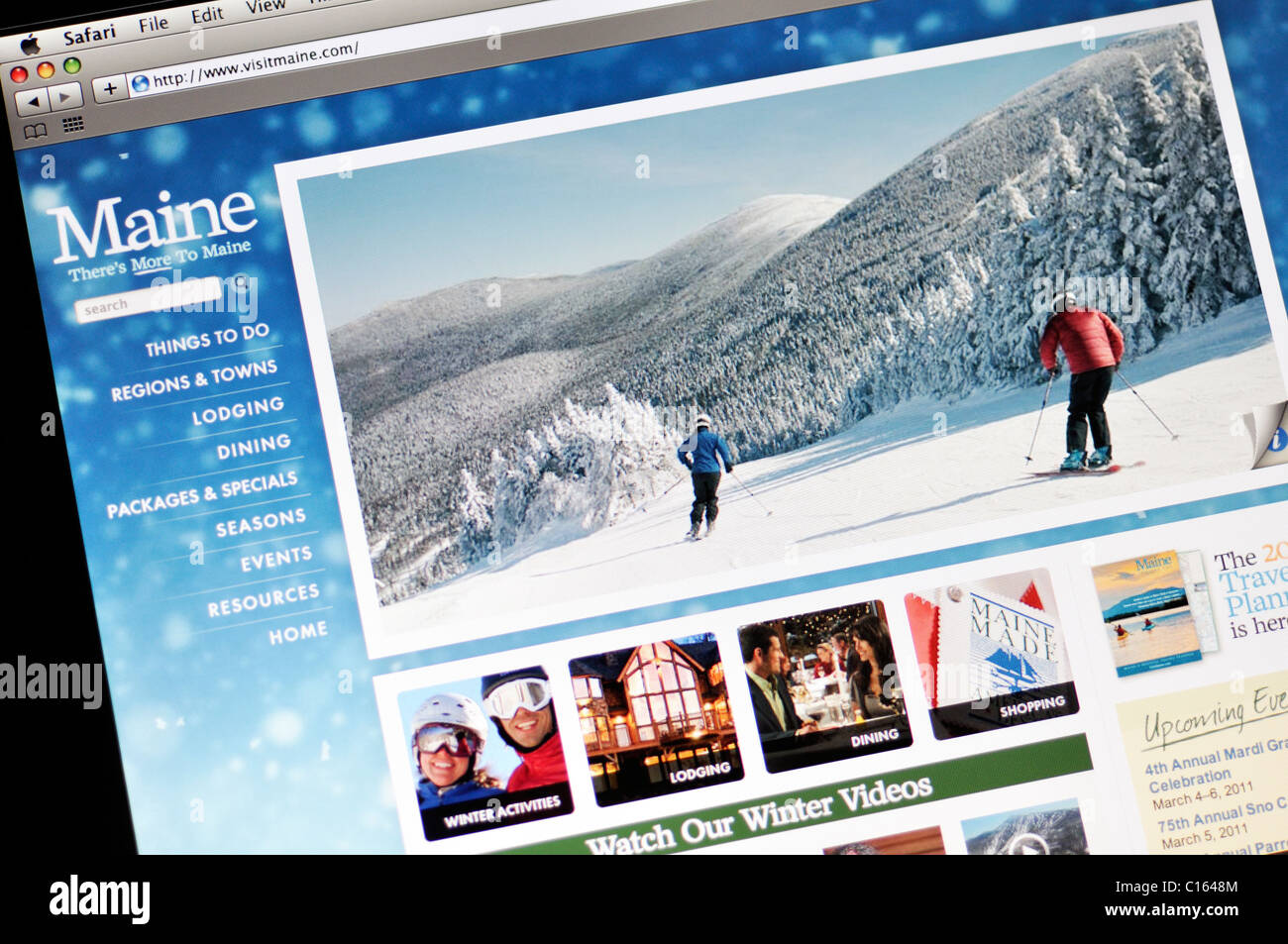 Web de turismo oficial del estado de Maine Imagen De Stock