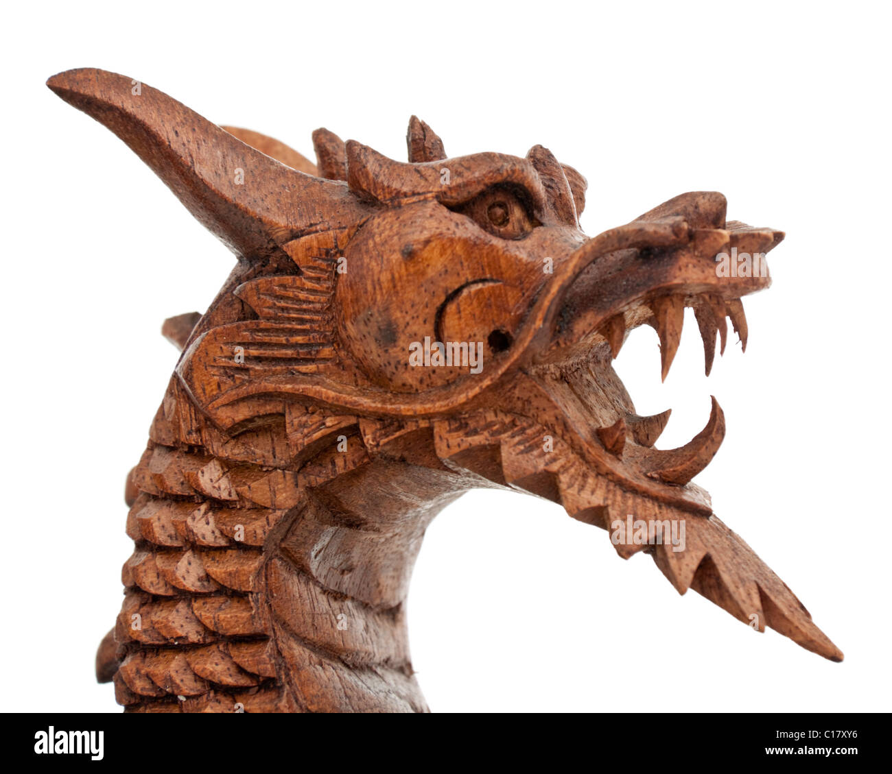 Close-up de feroz dragón de madera ornamento Imagen De Stock