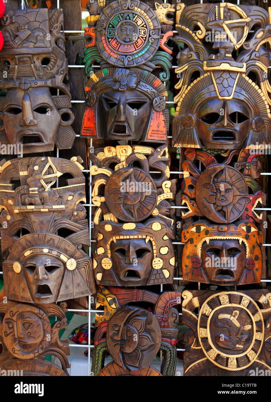 Los Aztecas Mayas Indios Mexicanos Máscara De Madera Artesanias En