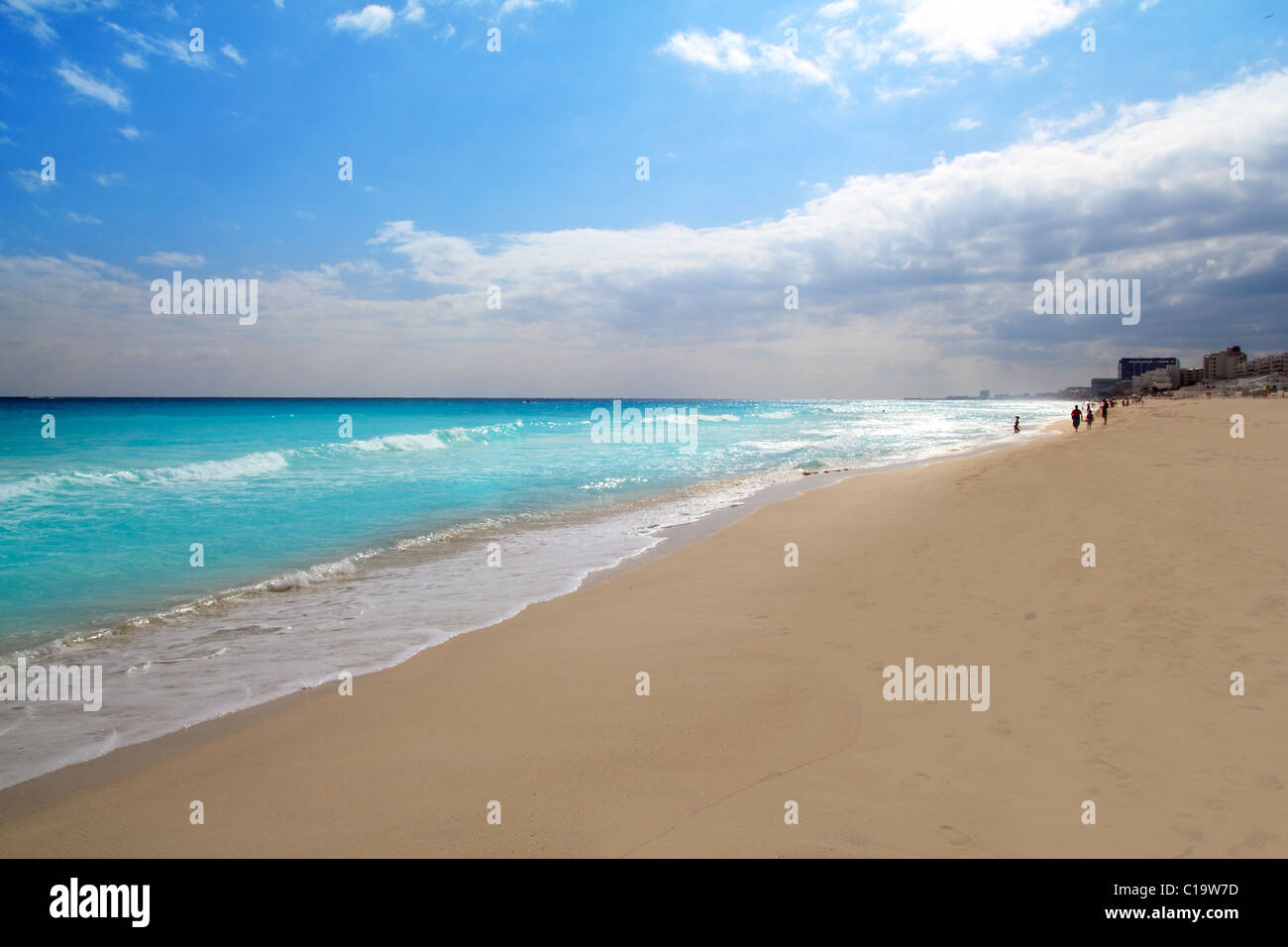 La zona hotelera de Cancún playa mar Caribe México perspectiva Imagen De Stock