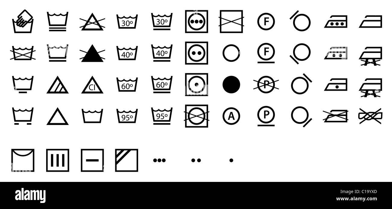 Símbolos de lavado internacional Imagen De Stock