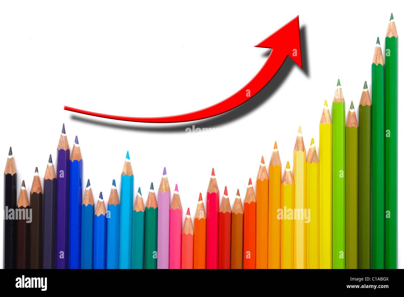 El gráfico muestra el éxito empresarial Imagen De Stock