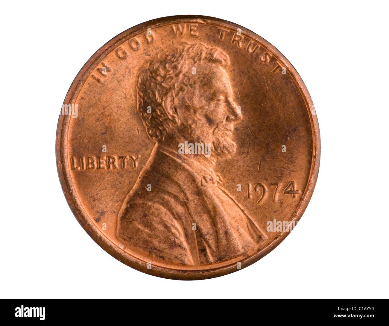 Nosotros 1% cobre penny desde 1974. Los peniques hechas antes de 1983 tenían un mayor contenido de cobre y Imagen De Stock
