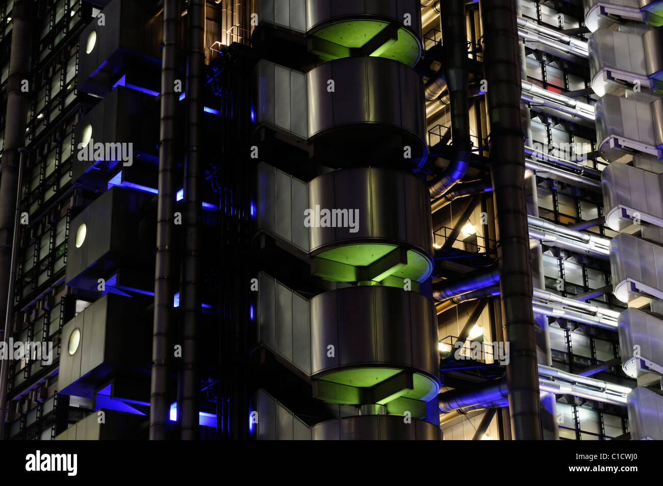 Resumen detalle arquitectónico del edificio Lloyds de Londres, Leadenhall Street, Londres, Inglaterra, Reino Imagen De Stock