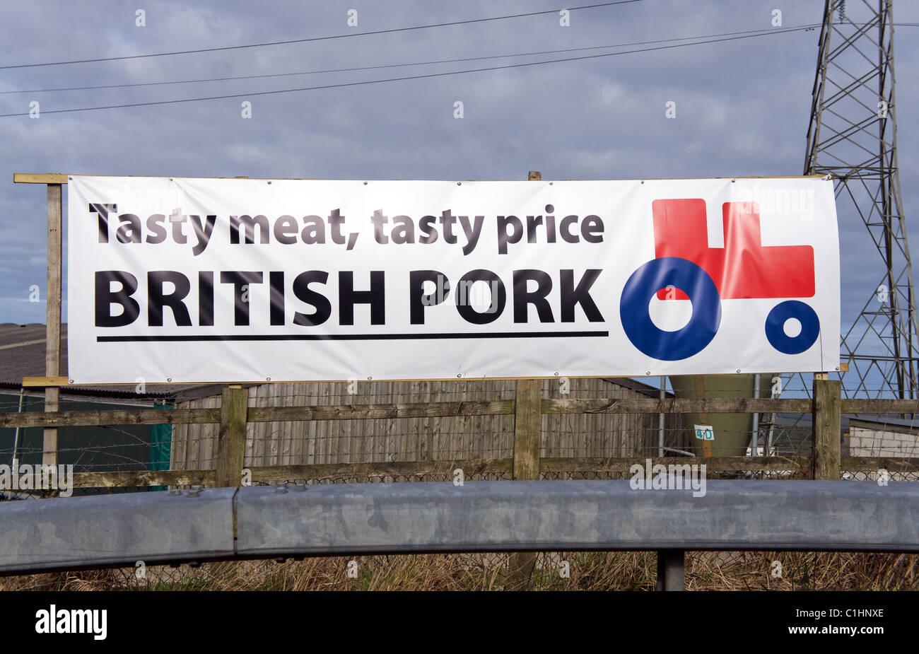 Un signo de protesta de los agricultores británicos publicidad cerdo, Cornualles, en el REINO UNIDO Imagen De Stock