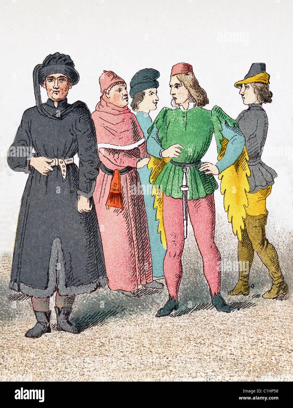 Las figuras representadas son los franceses alrededor de A.D. 1400. Ellos son: el hombre de aprendizaje (scholar), ciudadano, página, ciudadano, el Herald. Foto de stock